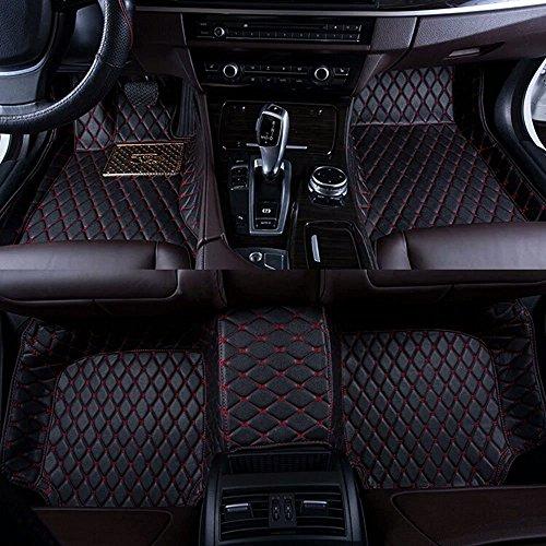 Pegasuss Custom Fit Luxury XPE Leather Waterproof Floor Mat for Tesla Model S (Black with Red Stitching) (Tesla Model S Floor Mat compare prices)