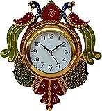 #3: JaipurCrafts Beautiful Wooden Peacock Emboss Painting Wall Clock (Multicolor)