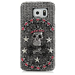 Samsung Galaxy S7 Case, STENES Luxurious Crystal 3D Handmade Sparkle Diamond Rhinestone Clear Cover with Retro Bowknot Anti Dust Plug - Crown Star Skull / Silver