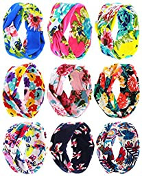 Qandsweet Baby Girl Elastic Hair Hoops Headbands (Crossed Hairbands 9 Pack)