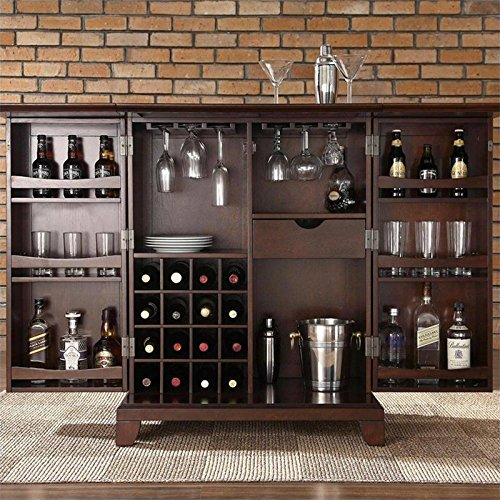 Crosley furniture newport expandable bar cabinet in vintage mahogany finish my home Home bar furniture amazon