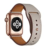 YALOCEA [Patent Pending] Compatible with Apple Watch Band 38mm 40mm, Genuine Leather Band Replacement Strap Compatible with Apple Watch Series 4 Series 3 Series 2 Series 1 38mm 40mm, Ivory White (Color: Ivory White, Tamaño: 38mm / 40mm)