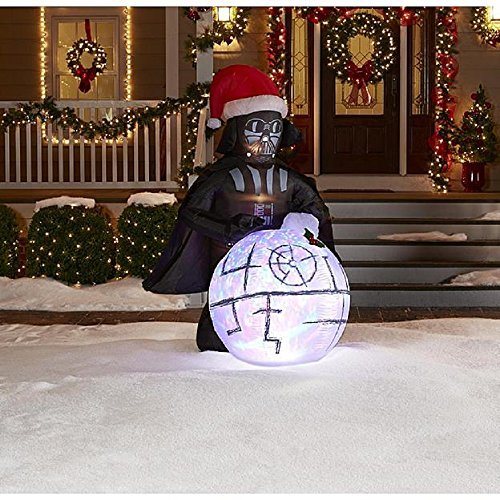 Christmas Inflatable 6 Ft Tall Led Lighted Star Wars Darth Vader with Kaleidoscope Death Star Snowball and Sound Fx Airblown Yard Prop By Gemmy