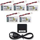 ENGPOW 3.7v 350mah 25C Lipo Battery with X5 Charger For TOZO Q2020 Holy Stone HS170 F180C RCtown ELF II HW Mini Drone Hubsan X4 H107C 107D 107L RH803 Protocol Dronium One Virhuck T915 Drone [5pcs]