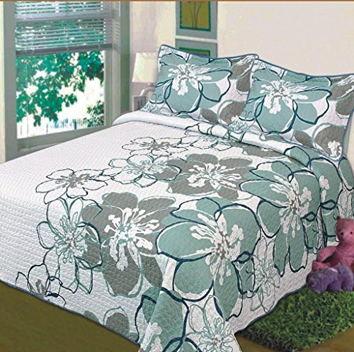 3 Pc Quilted Bedspread Coverlet, White With Teal, Sage And Blue Flowers, Soft Microfiber. King Size front-1066198