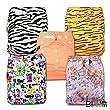 LittleBloom, Reusable Pocket Cloth Nappy, Fastener: Popper, Set of 5, Patterns 508, Without Insert, 6906