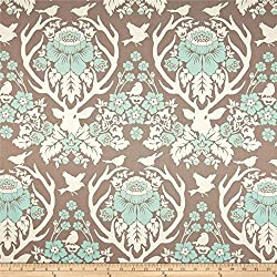 Antler Damask Burlap by Joel Dewberry Birch Farm for FreeSpirit Fabrics - PWJD089.BURLA - Blue Deer Bird (Fat quarter)
