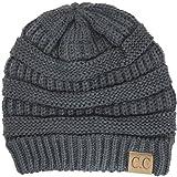 Thick Winter Slouchy Knit Oversized Beanie Cap Hat, One Size, Dark Grey