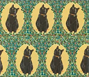 Black Cat Christmas Gift Wrap Paper
