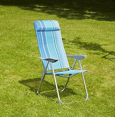 greemotion 436406 Klappsessel Texel, 1 x 1 Textilene, Aluminium, 69x60x109 cm, silber / blau von greemotion (GRKH5) - Gartenmöbel von Du und Dein Garten