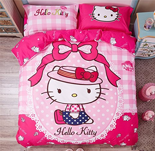 Warm-Embrace-Children-Bedding-Series-100-Cotton-Lady-Hello-Kitty-Pink-Duvet-Cover-Set-Flat-sheetQueen4-Piece