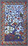 Blue Tree of Life Indian Bedspread, Twin Size
