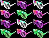 Set of 12 VT Flashing LED Multi Color 'Slotted Shutter' Light Up Show Party Favor Toy Glasses (Colors May Vary)