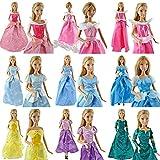 Yiding 5PCS Party Dress Wedding Clothes Gown For Disney Princess Barbie Dolls