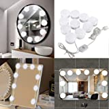 Hisoul USB Vanity Mirror Lights Kit 10pcs Bulbs LED Ligth with Dimmable Light Bulbs Lighting Fixture Strip Makeup Vanity - for Fill Light, Decoration and Shooting (White) (Color: White)