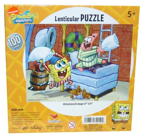 Cheap Nick Spongebob Squarepants 100-Piece Lenticular 3D Jigsaw Puzzle – Pillow Fight (B003C19HT4)