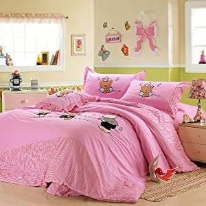 Amazon.com - DIAIDI, Cute Cartoon Bedding Set, Pink Little Girls ...