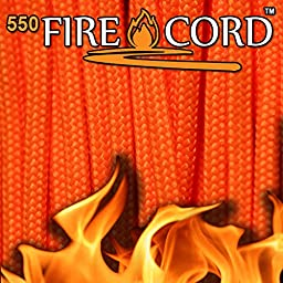 550 Firecord Paracord Parachute Cord Emergency Fire Starter Tactical Gear - Great for Crafting Survival Kit Zipper Pulls Handles Keychains Bracelets Lanyards Outdoor Lashing (Safety Orange, 50 feet)