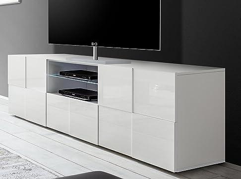 Mobile TV 2 Porte 2 Nicchie In Melamina 181x42x57cm Sodani Chequers Bianco