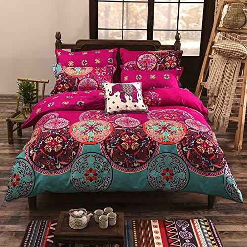 vaulia-lightweight-microfiber-duvet-cover-set-bohemia-exotic-patterns-design-bright-pink-double-size