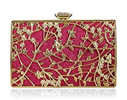 A4aadi Metal Red And Gold Clutch For Women