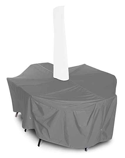 KoverRoos Weathermax 81351 Large Dining Set Cover with Umbrella Hole, 108 by 82 by 28-Inch, Charcoal