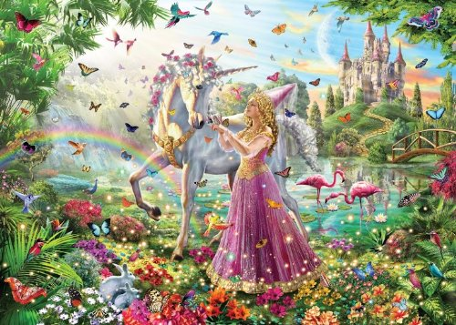 White Mountain Puzzles Princess Unicorn - 100 Piece Jigsaw Puzzle - 1