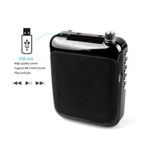 Voice Amplifier, MAONO AU-C01 Portable Professional Wired Microphone with Waistband and LED Display, Support FM, MP3 Format Audio for Coaches, Tour Guides, Kindergartener, Promotion,Meeting(Black) (Color: Voice amp, Tamaño: small)
