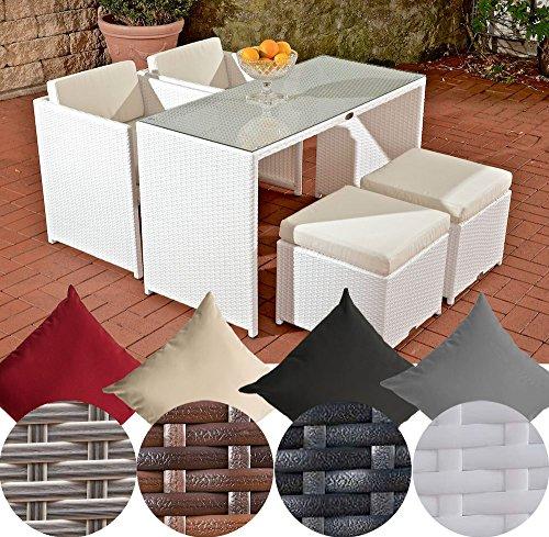 CLP-Poly-Rattan-Balkon-Sitzgruppe-TAHITI-2-Sthle-2-Hocker-Tisch-ca-130-x-60-cm-INKL-Sitzauflagen-bis-zu-4-Farben-whlbar-wei