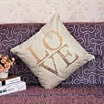 Vintage LOVE Heart Cotton Linen Throw...