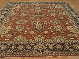 9 X 12 HAND KNOTTED RUST RED ANTIQUED SERAPI HERIZ FINE ORIENTAL RUG G21327