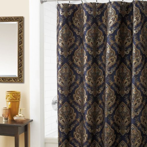 Croscill Home Laviano Shower Curtain Navy Blue With Gold Medallion Print Shower
