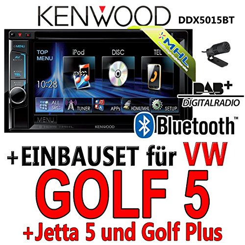 Kenwood-vW golf 5 dDX5015BT 2-dIN multimédia uSB mHL kit de montage d'autoradio dAB