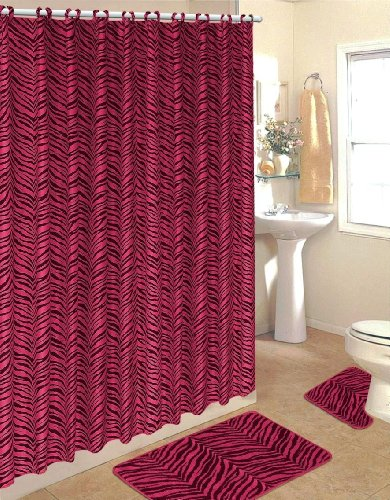 Hot Pink Zebra Fabric Shower Curtain Fabric Covered Rings Area Rug ...