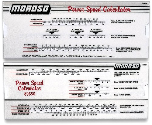 Moroso 89650 Power Speed Calculator