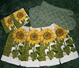 Beautiful Sunflower 8 Piece Dish Towel Set