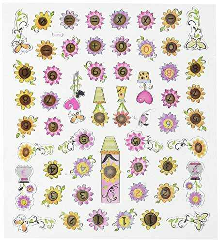 Tattoo King SK129MC-483 Multicolored Sticker, Flowers with Numbers
