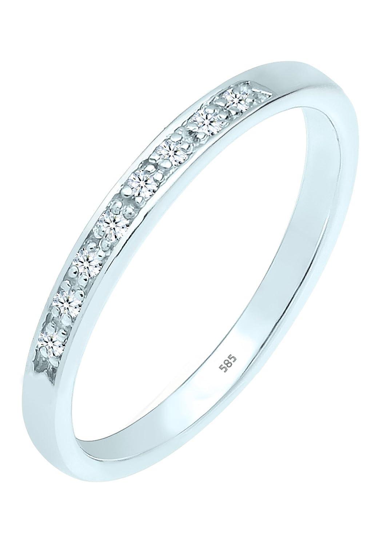 Diamore Damen-Ring Bandring Verlobungsring 585 Weißgold Diamant (0.08 ct) weiß Brillantschliff kaufen