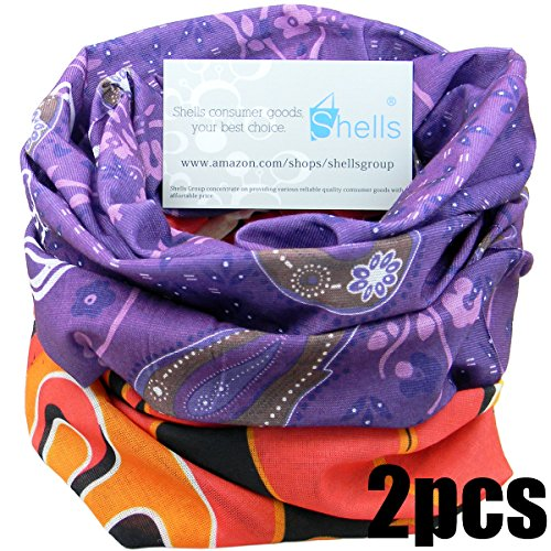 Shells 2PCS Purple Underwater World Pattern Red Flame Pattern Polyester Microfiber Outdoor Sport Magic Multifunction No Seam Headscarf Headwear Face Mask Neck Warmer For Motorcycle Bike Ski Outdoor activities