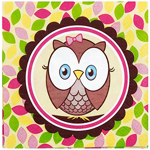 Party Destination 233329 Look Whoos 1 Pink Lunch Napkins