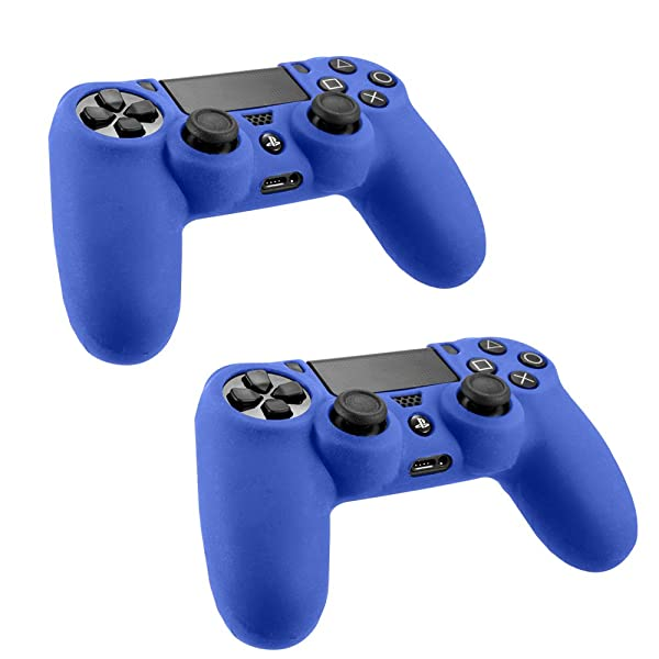 [2 Pack] SlickBlue Flexible Silicone Protective Skin Case For Sony PS4 Game Controller - Blue [PlayStation 4] (Color: 2-Pack-Blue)