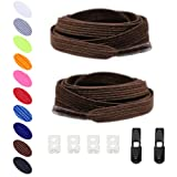 No Tie Shoelaces Elastic expand lacing system Lock clip Shoe laces for Women Kids Men -Slip On Shoelaces Fits Sneakers Running Casual (Color: Coffee)