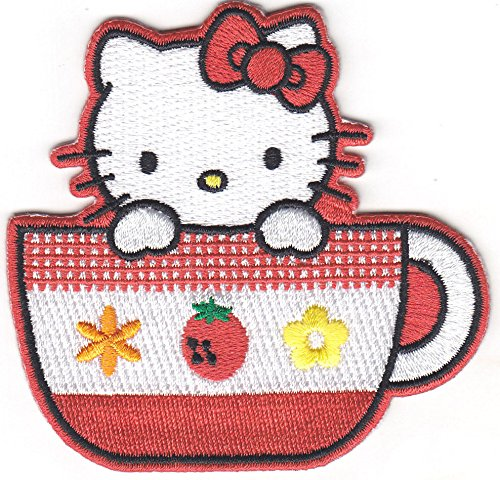 HELLO KITTY/TEACUP w/STRAWBERRY - Cartoon Character/Iron On Embroidered Patch