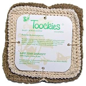 Amazon.com: Mano de punto de algodón orgánico y yute Scrub Paños en