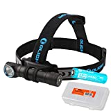 Olight H2R Nova 2300 Lumens LED Rechargeable Headlamp - Available in Neutral White or Cool White LED & LumenTac Battery Organizer (Cool White) (Color: Black)