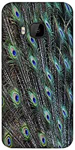 Snoogg Peacock Feathers Picture Designer Protective Back Case Cover For HTC M9
