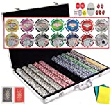 Vegas Style 11.5 Gram Casino Gambling Poker Chip Set (1000 Chips) with Storage Case and Gaming Accessories.