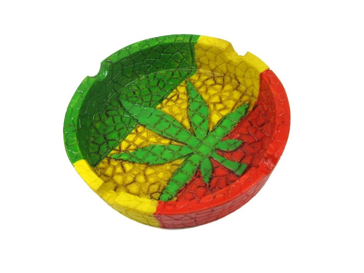 Rasta Leaf Round Ashtray