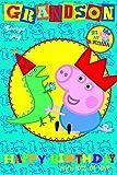 Peppa Pig Grandson Birthday Card with Badge