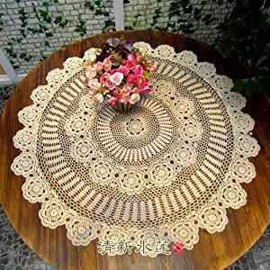 out, Beige Table overlays: Lace Tablecloth Round: Kitchen & Dining